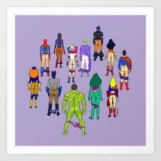 Superhero Power Couple Butts - Violet Art Print