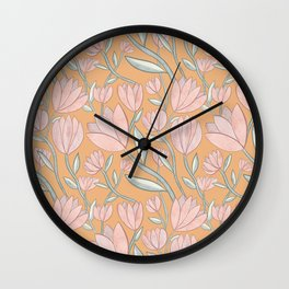 Soft Pink Flowers w/ Orange Wall Clock