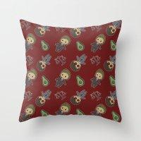 daredevil Throw Pillows featuring Daredevil Pattern by Lockholmes