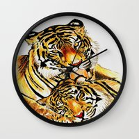tigers Wall Clocks featuring Tigers by DrewzDesignz