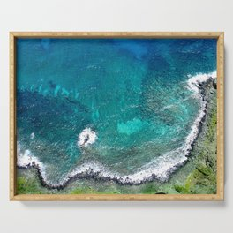 Colorful Tropical Bay Edged In Ocean Surf Water Serving Tray