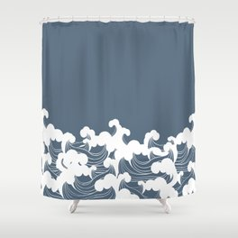 Blue Japanesse Wave Shower Curtain