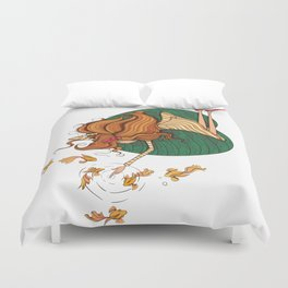 Girl and fish Duvet Cover