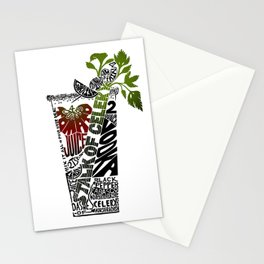 Bloody Mary Cocktail Recipe - Linoleum Cut Letterpress Design by BirdsFlyOver Stationery Cards