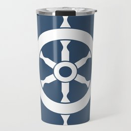 Navy Nautical Ship Wheel Travel Mug