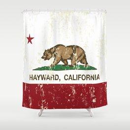 Hayward California Republic Flag Distressed Shower Curtain