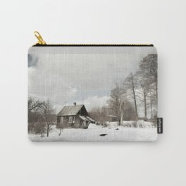 dilapidated wooden house cottage in winter Carry-All Pouch