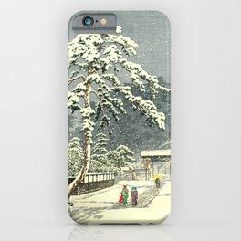 Honmon-Ji Temple at Ikegam by Kawase Hasui  - Japanese Vintage Woodblock Painting iPhone Case
