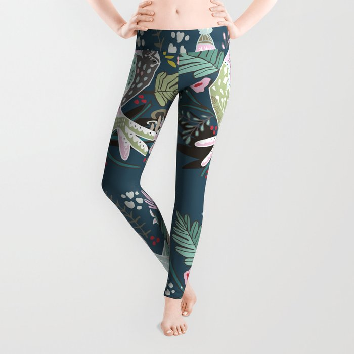 Holiday Birds Love Leggings