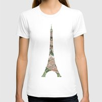 paris map T-shirts featuring Paris Map by Paula Belle Flores