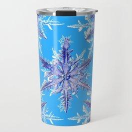 ABSTRACT BLUE WINTER CHRISTMAS SNOWFLAKES ART Travel Mug