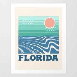 Florida - retro travel poster 70s throwback minimal ocean surfing vacation beach Art Print