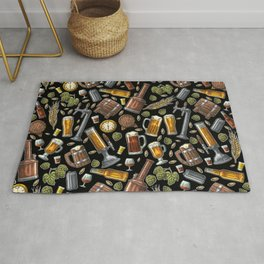 Beer Makes The World Go Round - Black Pattern Rug