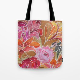 Lilies and Roses Tote Bag