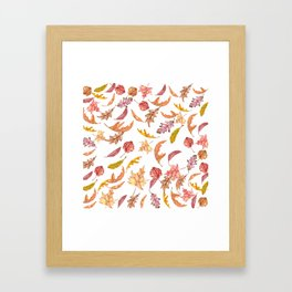 Falling Autumn Leaves Collage Framed Art Print