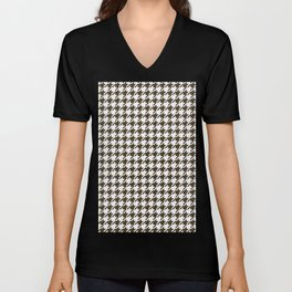 Brown And White Combination Houndstooth Unisex V-Neck