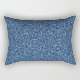 Black and Blue Abstract Circles Rectangular Pillow