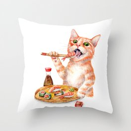 Sushi Cat Throw Pillow