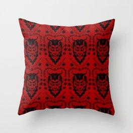 Krampus black on red Throw Pillow
