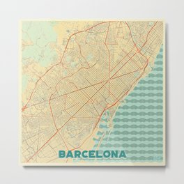 Barcelona Map Retro Metal Print