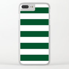 UP Forest green - solid color - white stripes pattern Clear iPhone Case