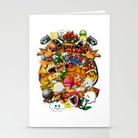 mario bros Stationery Cards featuring Super Mario Bros. Battle by Magik Tees