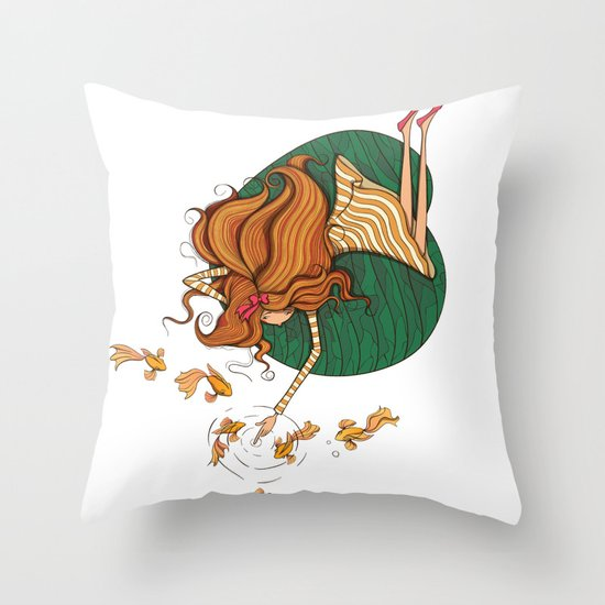 Girl and fish Throw Pillow