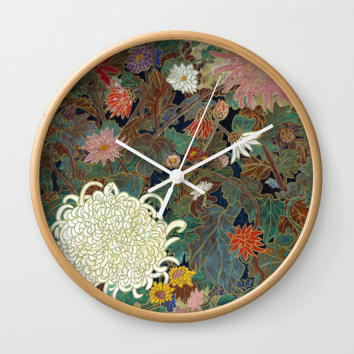 flower【Japanese painting】 Wall Clock