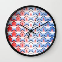 america Wall Clocks featuring America by Lyle Hatch