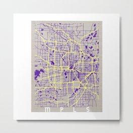 Minneapolis Minnesota Simple Map Metal Print
