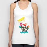 bonjour Tank Tops featuring Bonjour! by Daily Thoughts