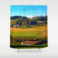 farm Shower Curtains featuring From farm to farm by Patrick Jobst