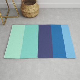 Beach House Colorful Pastel Blues Rug