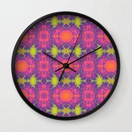 Sunset fractal blubs Wall Clock