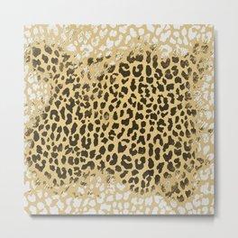 Golden Leopard Metal Print