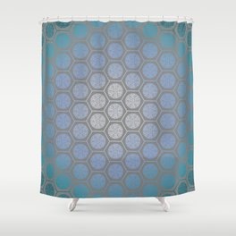 Hexagonal Dreams - Blue Turquoise Gradient Shower Curtain
