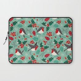 Christmas birds in snow Laptop Sleeve