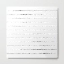 Minimal Simple White Background Black Lines Stripes Metal Print