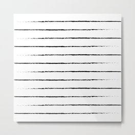 Minimal Simple White Background Black Lines Stripes Metal Print