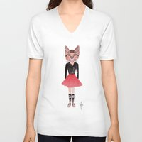 kitty V-neck T-shirts featuring Kitty by BTP Designs
