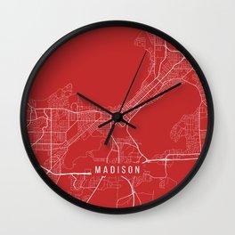 Madison Map, USA - Red Wall Clock