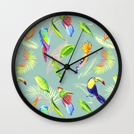 tropical pattern with bird parrot and toucan Wall Clock