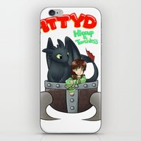hiccup iPhone & iPod Skins featuring Hiccup and Toothless in a Helmet by snowrunt