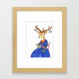 crochet deer Framed Art Print
