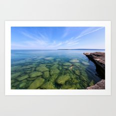 Serenity Swim in Lake Superior Art Print