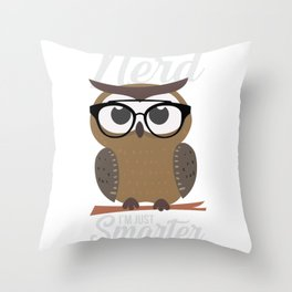 nerdy owl intelligent smart reading funny gift Throw Pillow