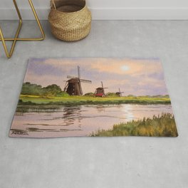 Windmills In The Netherlands Rug