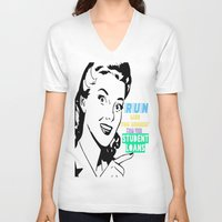 workout V-neck T-shirts featuring workout shirt, running shirt by Iris & Ino