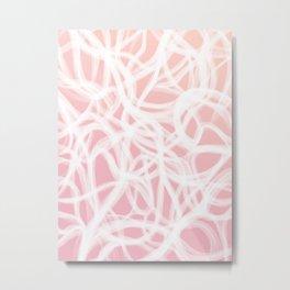 brushstrokes // pink & white Metal Print