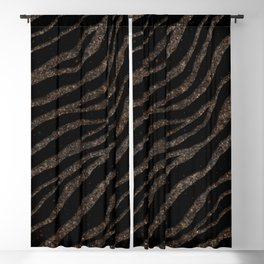 Ripped SpaceTime Stripes - Glitter Brown Blackout Curtain